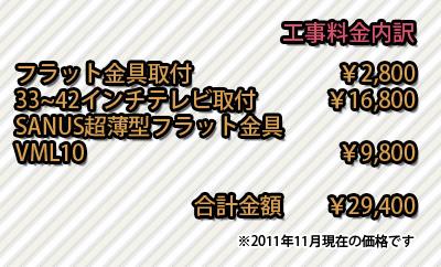 佐野市テレビ壁掛けフラット工事金額内訳