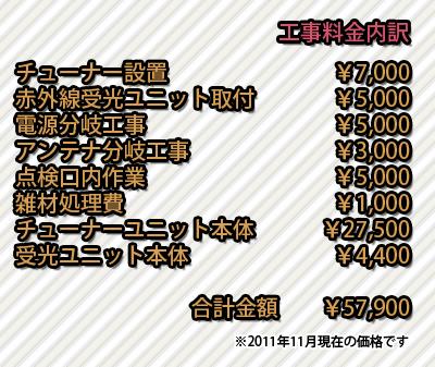 さいたま市_浴室テレビ地デジ化工事_工事料金内訳