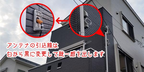 色の合わない引込線は見えない部分で接続